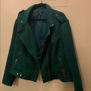 Forrest green / emerald green crop biker jacket